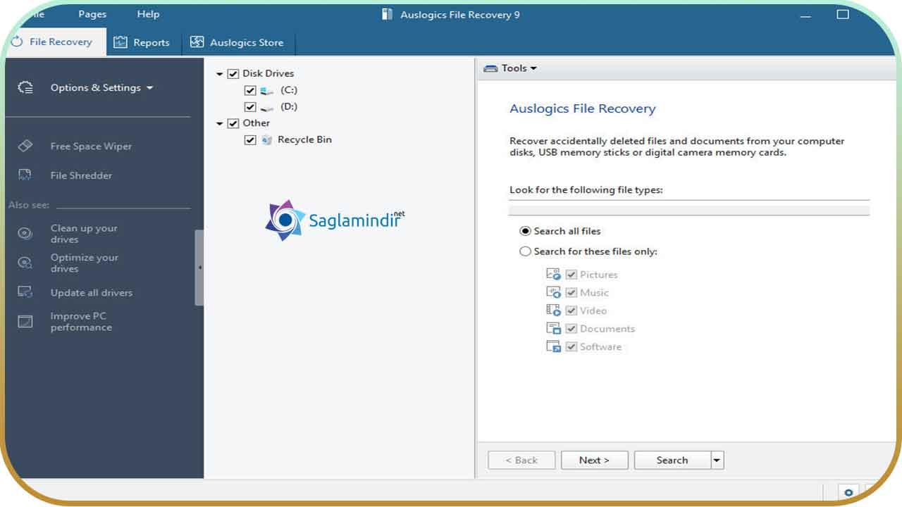 Auslogics File Recovery full indir